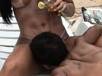 Beautiful tanned girl with big boobs has a midget fucking her wet pussy by the pool