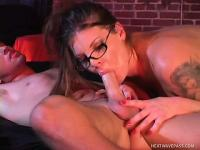 Chubby brunette geek gets down with a male stripper at the club