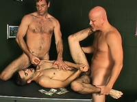Hairy young gay playboy services two horny well-endowed fuckers