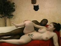Hot interracial action with plumper white chick and a big black dick