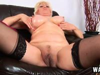 Nasty old blonde, Janka, oils up her saggy juggs and fingers her chunky bush