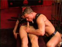 Two gay stallions fuck like crazy and suck cock dressed in leather straps