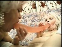 Two horny grannies keep each other busy with a massive sex toy