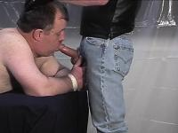 Fat gay guy gets his ass spanked and his face stuffed by a dom