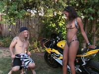 White hippie uses his sport bike to seduce a hot ebony chick into fucking