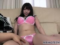Cute Asian girl Maho drops her pink underwear to reveal her big tits and her sweet cunt