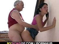 Horny father fucks his son's girlfriend