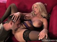 Mature blonde bombshell gets her mouth-watering pussy ripped