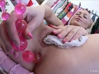 Perky blonde teen with juicy ass plays with her pink anal beads