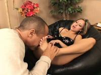 August Night caresses big dong with her feet and gets jizz on her toes
