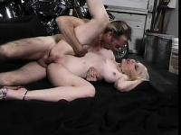 Pale white blonde with big tits and a hot ass rides the biker's long cock
