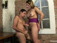 Lusty tranny shoves her fat prick deep inside this guy's bunghole