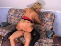 Nasty mature blonde with big hooters fucking a stiff cock with desire
