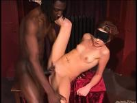 Blindfolded redhead with perky tits and a hot ass takes a big black dick in her cunt