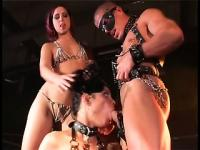 These slaves are blindfolded while fucking and their master helps