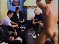 Horny businessmen head to the toilets for a quick anal screwing