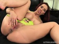 Voluptuous brunette Kelly Divine touches herself and gets pounded hard