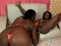Tender chocolate bitch in sexy underwear licks horny slut's cunt