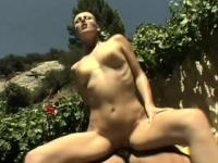 Athletic blonde with a perky ass and sexy legs fucks a cock outside