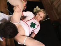 Pale blonde nurse in sexy lingerie takes on her doctor's thick cock