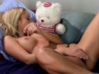 Blonde beauty Jana Cova reveals her sexy body and has fun with a dildo