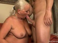 Plumper blonde granny Vass takes a pounding from a horny bald guy