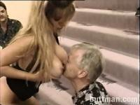 Older guys enjoying the oral skills of a hot sex-frenzied blondie
