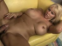 Mature blonde bimbo with a big ass gets to work on a young wang