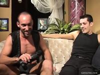 Two leather lovers exchange blowjobs and drill each other's asses with dildos