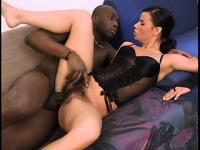 Cuddlesome wicked babe in black corset Winnie is fucked by black bat