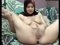 Arabian Girl With Hijab Milking Her Tits And Masturbates