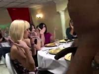 Black stripper gets blowjob from CFNM amateur babes