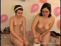 Topless college girls making out in Dare ring