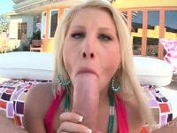 Kinky phat ass blonde fellates massive shaft