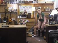 Hot Blonde Riding Dick Point Of View In Pawn Shop Office
