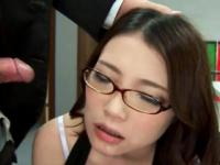 Jap secretary in stockings answers to a phone during facial