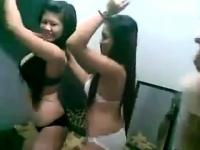 Young Girls Dancing In Their Underwear