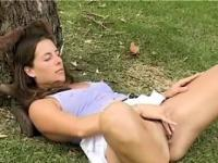 Horny Girl Masturbating Outside In A Park
