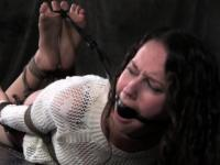 Hogtied sub Bonnie Day toes bitten