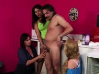 Salesman stripped by British CFNM babes for fetish blowjob