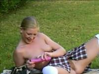 Blonde Schoolgirl Masturbates Outside