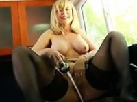 Blonde MILF Flashing Her Tits At Home