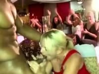 Amateur party girl sucks CFNM stripper in public