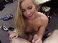 Small tits blonde bimbo sucks and fucked at the pawnshop