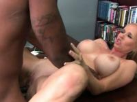 Curvy MILF banged by black cock on the table