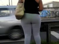 Great Ass In Some Tight Gray Leggings