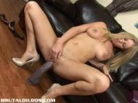 Beautiful Allison Pierce sucking and fucking brutal dildos