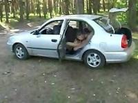 Russian teen anal in a car