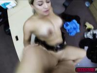 Security babe gets hardcore fucking after deepthroating a meaty dick
