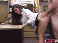 Busty Blonde woman gets fucked hard by the pawnshop owner